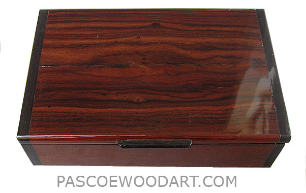 Handmade wood box - Decorative wood men's valet or keepsake box made of cocobolo