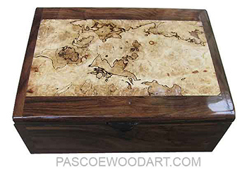 Handmade wood box - Decorative wood men's valet box or keepsake box made of Bolivian rosewood with spalted maple burl top