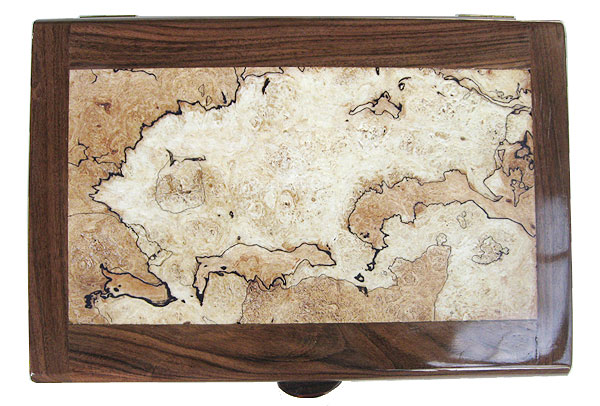 Spalted maple burl center framed in Bolivian rosewood box top - Handmade wood decorative valet box