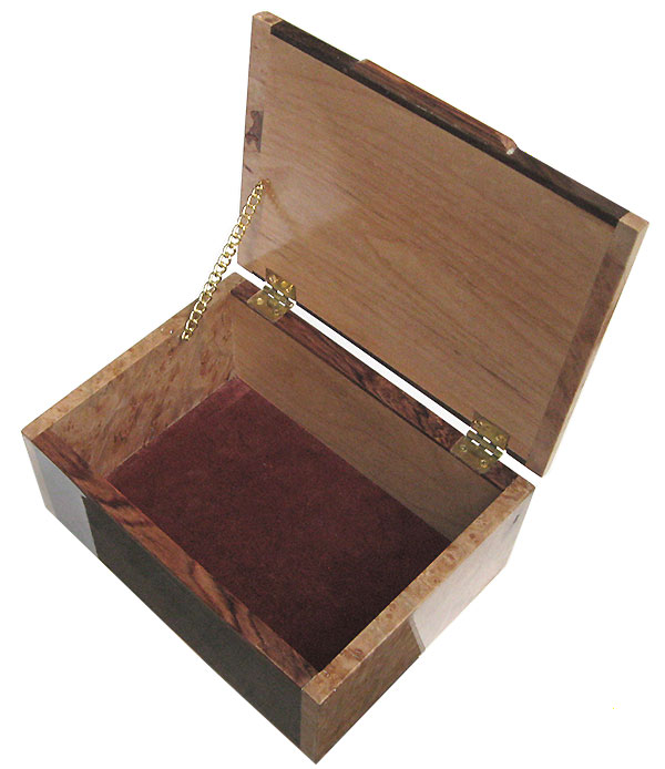 Handmade wood valet box - open view