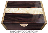 Handcrafted wood box - Men's valet box or keepsake box made of macassar ebony with spalted maple burl band center top and maple burl ends