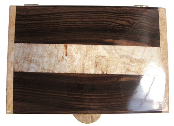 Macasssar ebony with spalted maple burl band inlaid box top - Handcrafted men's valet box or keepsake box