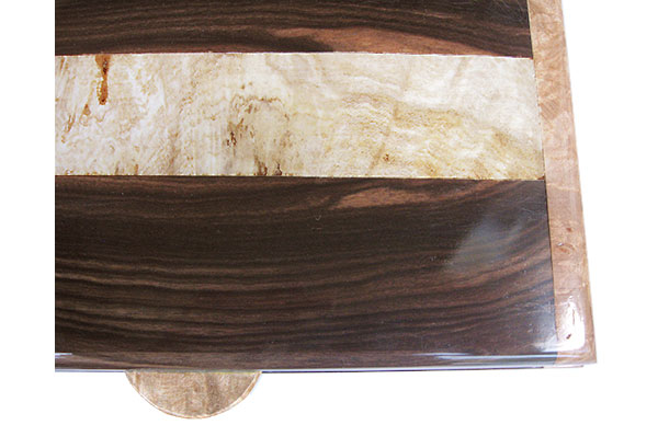 Macassar ebony with spalted maple burl band center box top - close up - Handcrafted wood box