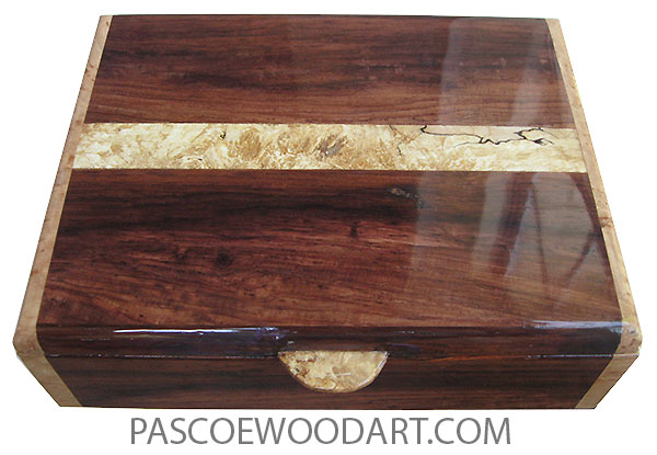 Handmade wood box - Men's valet box made of figured Honduras rosewood with spalted maple burl band center inlaid top and maple burl ends