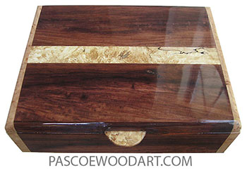 Handmade wood box - Men's valet box made of Honduras rosewood with spalted maple burl band inlaid top and maple burl ends