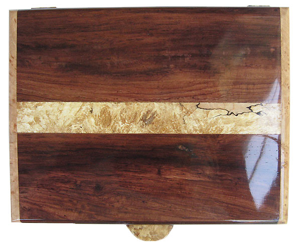 Figured Honduras rosewood with spalted maple burl band inlaid box top - Handmade wood men's valet box