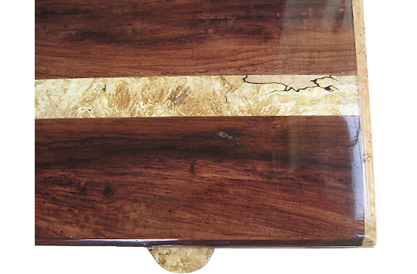 Figured Honduras rosewood with spalted maple burl band center inlaid box top - Handmade men's valet box