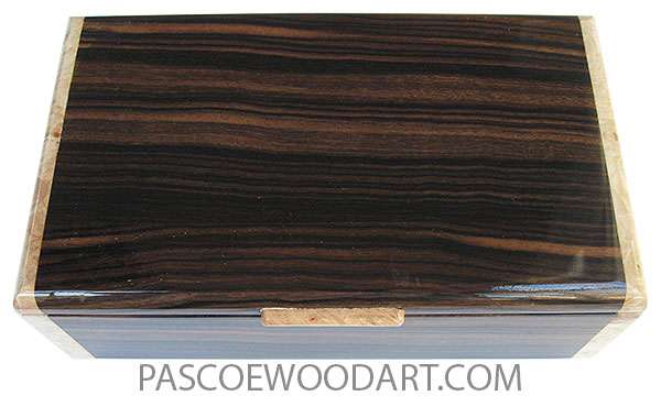 Handcrafted wood box - Men's valet or keepsake box  made of macassar ebony with maple burl ends