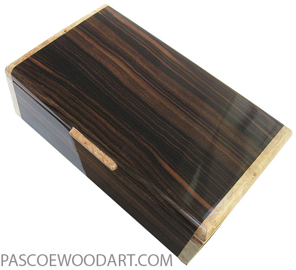 Handmade wood box - Men's valet box or keepsake box made of macassar ebony with maple burl ends
