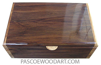 Handmade wood box - Medium size men's valet box, keepsake box made of East Indian rosewood  with olive ends