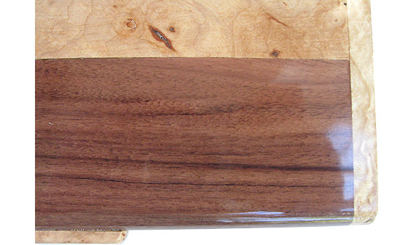 Santos rosewood with maple burl band box top - Handcrafted wood box close up