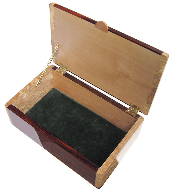 Handmade wood box - Men's valet box open view