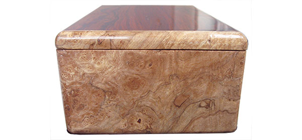Spaled maple burl box end - Handmade wood box, men's valet box