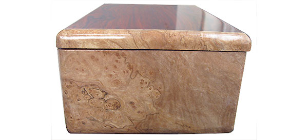 Spalted maple burl box end - Handmade wood box, men's valet box