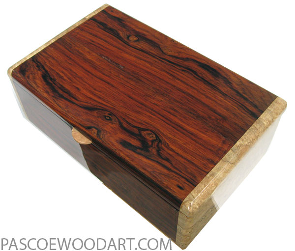 Handmade wood box - Men's valet box made of cocobolo with spalted maple burl ends