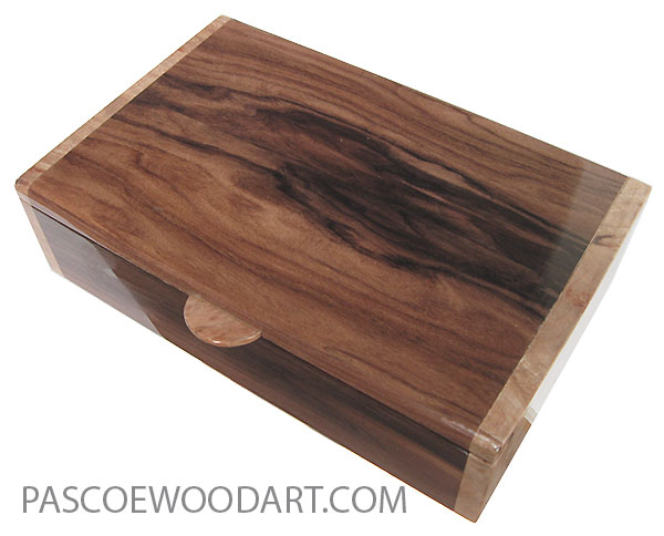 Handmade wood box - Men's valet box made of Santos rosewood with maple burl ends