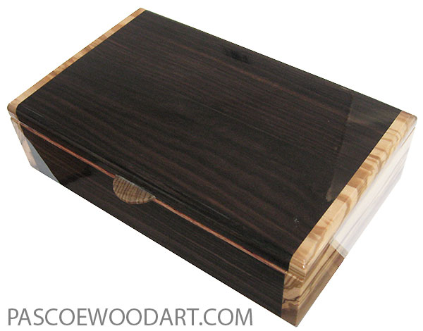 Handmade wood box - Men's valet box made of macassar ebony with Italian olive ends
