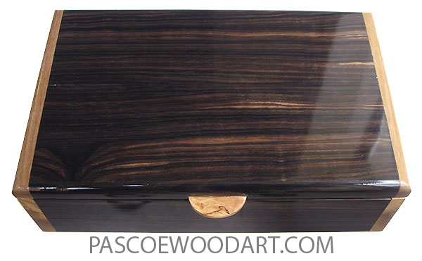 Handmade wood box - Men's valet box made of macasar ebony with Italian olive ends