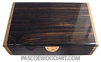 Handcrafted men's valet box made of macassar ebony with Italian olive ends