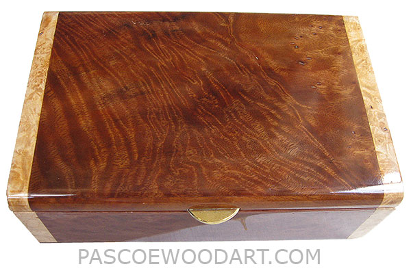 Handmade wood box - Decorative wood men's valet or keepsake box made of walnut with maple burl ends