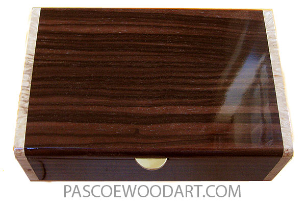 Handmade wood box - Decorative wood men's valet box or keepsake box made of Macassar ebony with maple burl ends