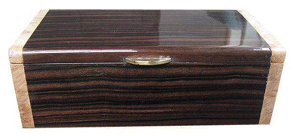 Macassar ebony box front - Handmade wood decorative men's valet box or keepsake box