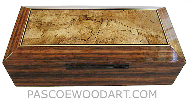 Handcrafted wood box - Decorative wood men's valet, keepsake box made of Sabah ebony with spalted maple inset top with ebony and satinwood stringing
