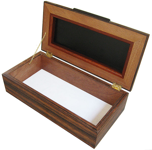 Handcrafted wood box - Men's valet box, keepsake box - open view