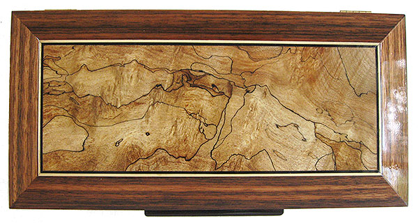 Spalted maple inset box top with ebony and satinwood stringing framed in Sabah ebony