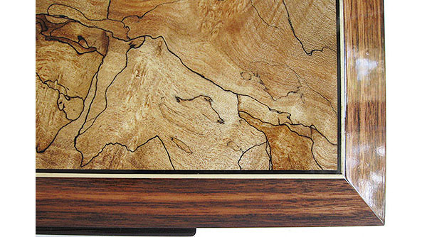 Spalted maple inset box top with ebony and satinwood stringing framed in Sabah ebony - Close up