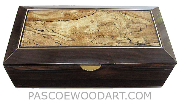 Handcrafted wood box - Decorative men's valet box, keepsake box made of ziricote with beveled spalted maple burl framed top
