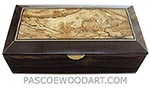 Handcrafted wood box - Decorative wood men's valet box, keepsake box made of ziricote with spalted maple burl top