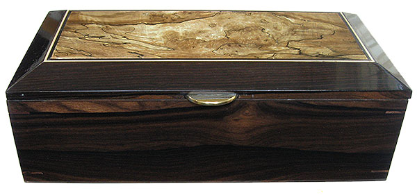 Ziricote box front - Handcrafted decorative wood men's valet box