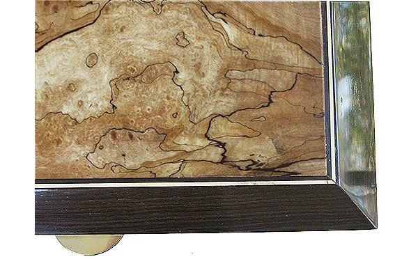 Spalted maple burl box top close up - Handcrafted wood men's valet box
