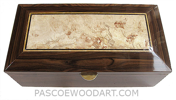 Handcrafted wood box - Decorative wood men's valet box, keepsake box made of ziricote with spalted maple burl top center