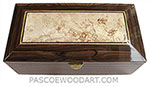 Handcrafted wood box -Decorative wood men's valet box, keepsake box made of ziiricote with spalted maple burl center top