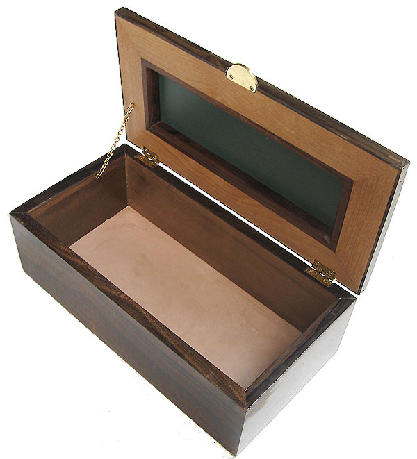 Handcrafted wood box - Decorative men's valet box open view