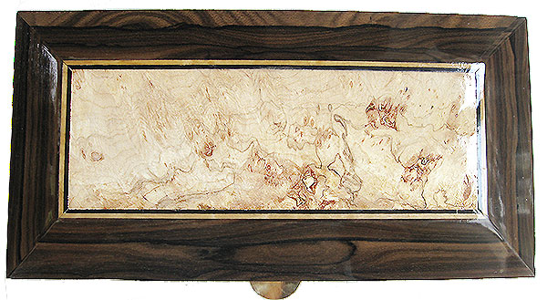 Spalted maple burl framed in ziricote box top - Handcrafted wood decorative men's valet box, keepsake box