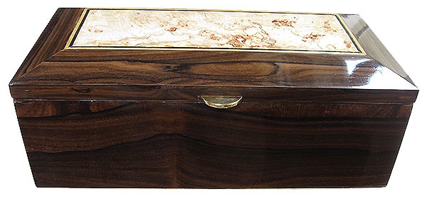 Ziricote box front - Handcrafted wood decorative men's valet box