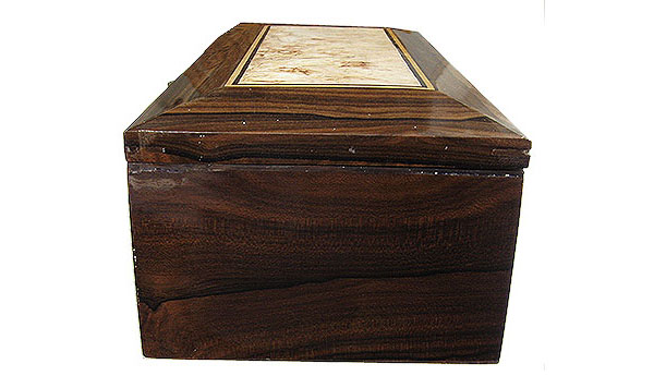 Ziricote box side - Handcrafted wood decorative men's valet box