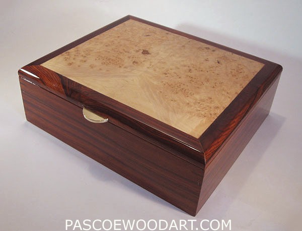 Men's valet box - Handmade men's box made from Cocobolo and Maple Burl top