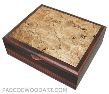 Handcrafted wood box - Decorative wood men's valet box made of cocobolo, spalted maple burl