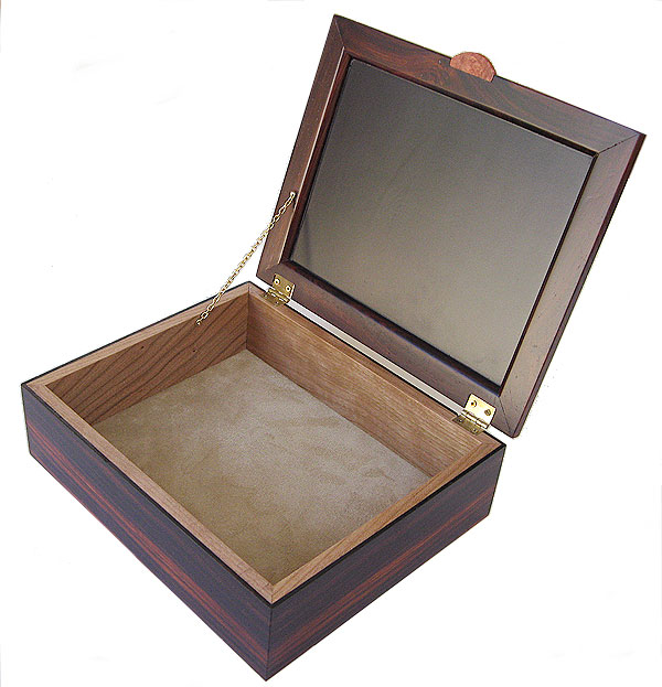 Handcrafted wood valet box - open view