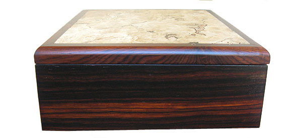 Handcrafted cocobolo wood box - Decorative men's valet box - side view