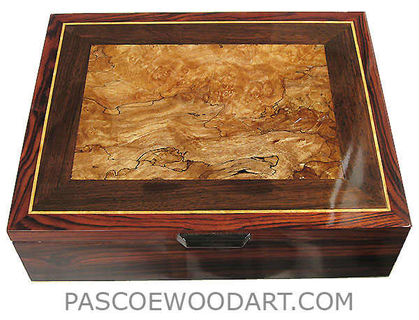 Handcrafted wood box - Decorative wood men's valet box, keepsake box made of cocobolo, spalted maple burl, kamagong inlaid top