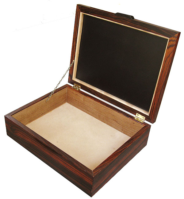 Handcrafted cocobolo wood box - open view - Decorative men's valet box, keepsake box