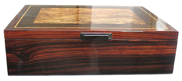 Cocobolo box front - Handcrafted wood box - Men's valet box