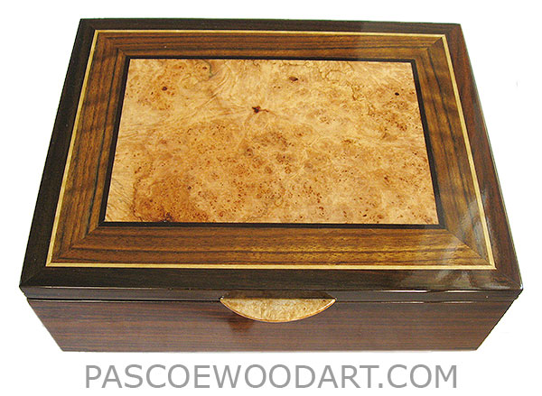 Handcrafted wood box - Decorative men's valet box, keepsake box made of Indian rosewood with shedua, maple burl, ebony, Ceylon satinwood inlaid top