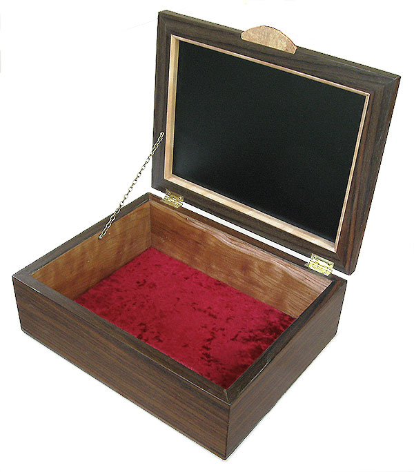 Handmade wood men's valet box - Open view