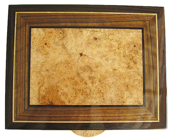 Handmade decorative men's valet box - Maple burl, shedula inlaid box top